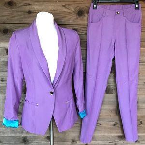 IMAN 2pc Suit Lavender Blazer & Pant Set Sz XS